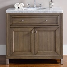 "Chicago 36"" Single White Washed Walnut Bathroom Vanity Set"