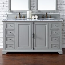 "Providence 60"" Double Urban Gray Bathroom Vanity Set"