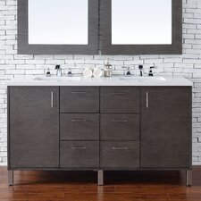 "Metropolitan 60"" Double Silver Oak Bathroom Vanity Set"