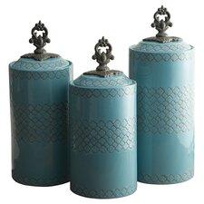 3 Piece Cylinder Ceramic Kitchen Canister Set