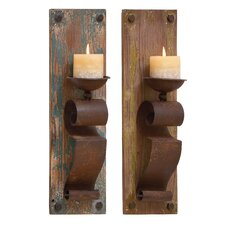 2 Piece Wood and Metal Sconce Set (Set of 2)