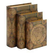 world map 3 piece leather book box set - Decorative Boxes