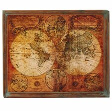 world map framed graphic art