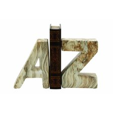 A and Z Ceramic Bookends (Set of 2)
