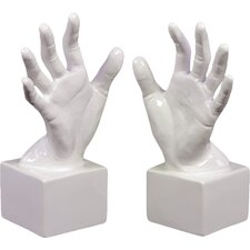 Ceramic Open Palm Bookend Gloss White (Set of 2)
