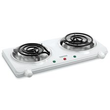 """Portable 17"""" Electric Cooktop with 2 Burners"""