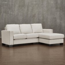 Blackston Nailhead Trimmed Linen L-Shaped Reversible Chaise Sectional