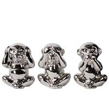 Sitting Monkey See, Hear, Speak No Evil 3 Piece Figurine Set