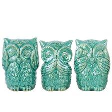 Ceramic Owl No Evil 3 Piece Figurine Set