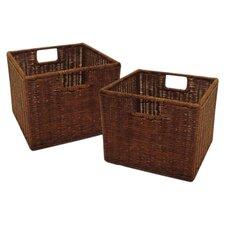 Scenic Walnut Small Storage Basket (Set of 2)