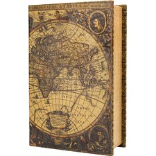 Antique Map Book Cash Box with Key Lock