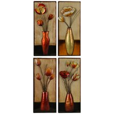 4 Piece Small Metal Floral in Vase Wall Décor Set