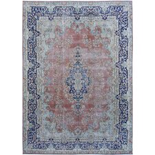 Vintage Hand Knotted Coral/Blue Area Rug