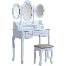 Shabby Elegance Dressing Table Set with Mirror