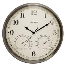 "Big Ben 12"" Round Metal Frame Outdoor Wall Clock"