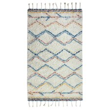 Mayer Rectangle Hand-Woven Beige/Blue/Red Area Rug