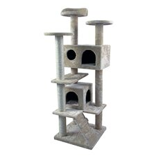 "50"" Tower Furniture Scratch Post Kitty Pet House Play Furniture Sisal Pole and Stairs Cat Tree and Condo"