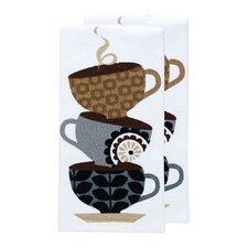 Coffee Cups Print Dual Kitchen Dishcloth (Set of 2)