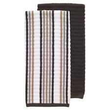 2 Piece Solid and Stripe Waffle Terry Kitchen Dishcloth Set
