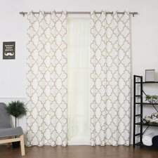 Arrey Basketweave Geometric Semi-Sheer Grommet Curtain Panel (Set of 2)