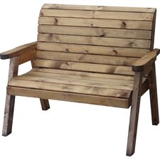 Rustic Sloped Back 2 Seater Wooden Bench