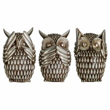 Owls Polyresin 3 Piece Sculpture Set