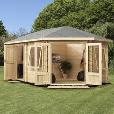 Corner Lodge Plus Right Side 16 x 11 Ft.Log Cabin