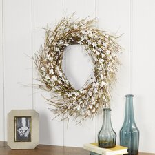 White Faux Forsythia Wreath