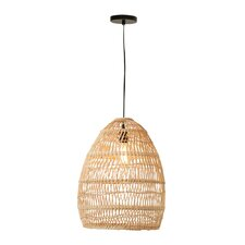 Havana Round Wicker 1-Light Inverted Pendant