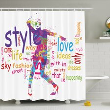 Fashion House Stylish Woman Figure with Colorful Stains Love Dresses Happiness Shower Curtain Set