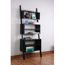 "Wooden 72"" Leaning Bookcase"
