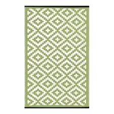 Lightweight Reversible Leaf Green/Ivory Indoor/Outdoor Area Rug