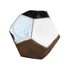 Faceted Silver Ceramic Vase