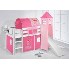 Jelle Princess High Sleeper Bunk Bed with Curtain, Tower and Slide