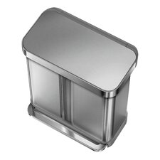 Dual Compartment Pedal 58L Step-On Steel Bin with Liner Pocket