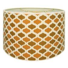 "Two-Tone Mediterraneanesque Designer Hard Back 10"" Paper Drum Lamp Shade"