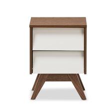Baxton Studio Uberto Wood Storage 2 Drawer Nightstand
