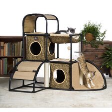 """42.5"""" Catville Townhome Leopard Print Cat Tree and Condo"""