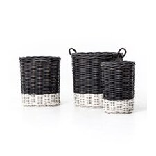 Dry Round Hamper 3 Piece Basket Set