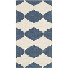 Short Beige/Navy Contemporary Rug