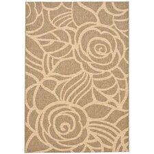 Laurel Floral Coffee & Sand Outdoor/Indoor Area Rug