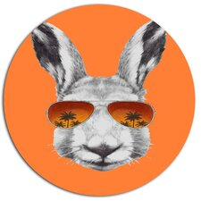 'Funny Rabbit with Sunglasses' Graphic Art Print on Metal