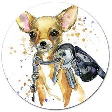 'Brown Toy Terrier Dog Watercolor' Oil Painting Print on Metal