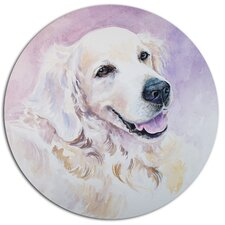 'Funny Golden Retriever' Graphic Art Print on Metal