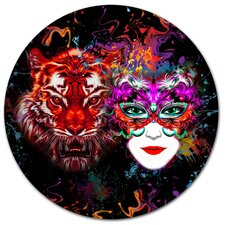 'Tiger and Woman Colorful Faces' Graphic Art Print on Metal