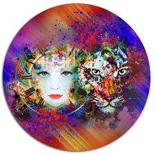 'Colorful Tiger and Woman Face' Graphic Art Print on Metal