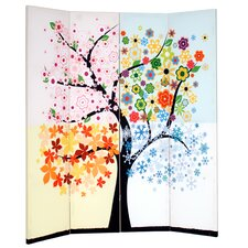 "Alejandra 71"" x 69"" Double Sided Painted Canvas 4 Panel Room Divider"