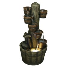 Polyresin Plant Pot and Barrel Water Fall Fountain with Light