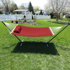 Quilted Designs Double Fabric 2 Person Hammock with Stand