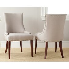 Alpha Centauri Upholstered Side Chair in Linen / Leather - Biege with Carpenter Nailheads